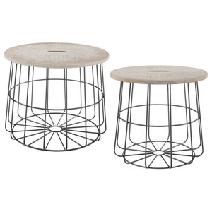 Susanne Kasielke Cactus Party Desert Matcha Black And White Round Side Table Southwestern Side Tables And End Tables By Deny Designs