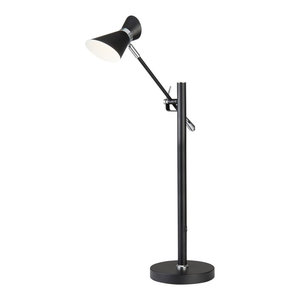 Diablo LED Table Lamp, Matte Black Chrome and White