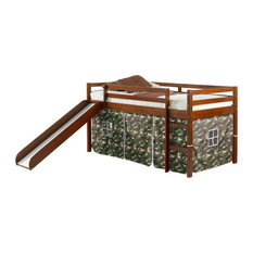 Horner Kids Twin Loft Bed With Slide and Tent, Light Espresso and Camo, Camo