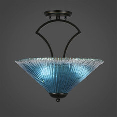 Zilo 3-Light Semi-Flush Mount Dark Granite Teal Crystal Glass