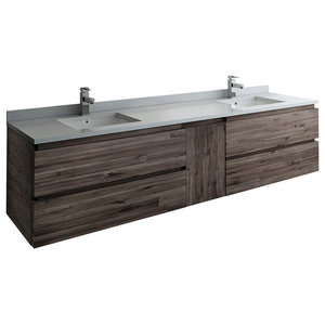 Formosa Wall Hung Double Sink Modern Bathroom Cabinet, 82""