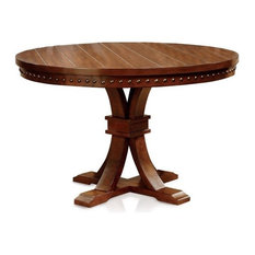 Furniture of America Duran Transitional Wood Round Dining Table in Dark Oak