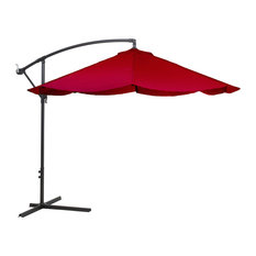 Pure Garden Offset 10' Aluminum Hanging Patio Umbrella, Red