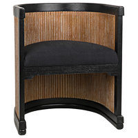 Noir Carly Hand Rubbed Black Chair With Grey Wash Finish SOF314GWHB