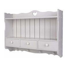 Wall Mounted Storage Cabinet in White MDF With 3-Drawer, 4-Hook and Open Shelf