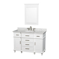 "Wyndham Collection - Berkeley 48"" Vanity, Round Sink, White, White Carrera Marble, 24"" Mirror - Bathroom Vanities and Sink Consoles"