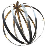 LadyBagsSF - Black Barrel Sphere Decoration With Lights - This is our black wine barrel sphere made with 6 reclaimed barrel hoops. Each metal band is approx 1 inches thick and is mounted together on the top and bottom of the sphere and help tightly in place. We then clean and paint the hoops with a rust-oleum to protect it from the elements.