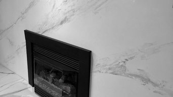 Marble looking fireplace done with venetian plaster