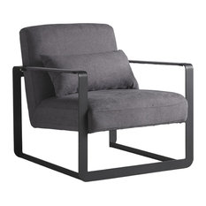 Cube Upholstered Armchair, Grey
