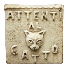 Beware of Cat Plaque, Cathedral White