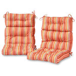 Greendale Home Fashions - Outdoor High Back Chair Cushions, Set of 2, Watermelon Stripe - Enhance the look and feel of your patio furniture with this Greendale Home Fashions Outdoor High Back Chair Cushion Set. These cushions measure 44 x 22 x 4 inches, and come with string ties to keep cushions in place. Each cushion is overstuffed for extra comfort and durability with 100% recycled, post-consumer plastic bottles, and covered with a UV resistant, 100% polyester outdoor fabric that resists fading, water, stains, and mildew. Cushions are circle tacked to prevent fill from shifting. A variety of modern prints are available.