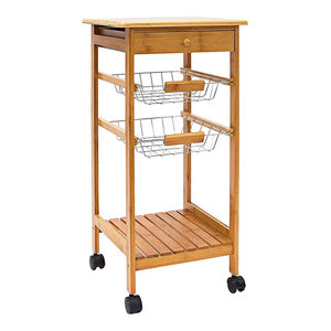 Modern Serving Trolley Cart, Natural Bamboo Wood With 2 Metal Baskets, Drawer