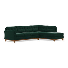 Marco 2-Piece Sectional Sofa, Evergreen Velvet, Chaise on Right