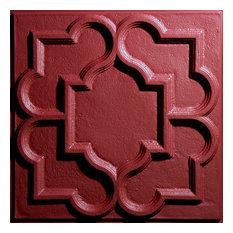 """24""""x24"""" Victorian White Ceiling Tiles, Set of 5, Merlot"""