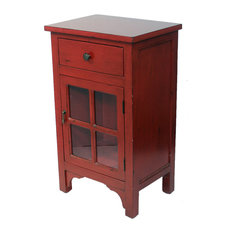 Heather Ann Creations   Vivian 1 Drawer, 1 Door Accent Cabinet With Clear