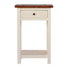 Solid Wooden White Painted Lamp Table With Drawer