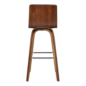 "Armen Living Vienna 26"" Counter Height Barstool, Walnut Wood/Gray"