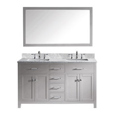 "Caroline 60"" Double Bathroom Vanity, Cashmere Gray With Square Sink"