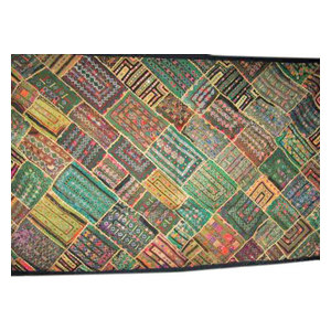 Mogul Interior - Wall Hanging- Indian Home Decorative Olive Green Yellow Kutch Embroidered - Tapestries