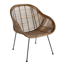 Brown Woven Wicker Dining Chair