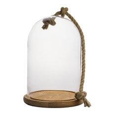 "Glass Dome Cloche Bell Jar Terrarium, Natural Wood Base, 12.5"", Set of 2"