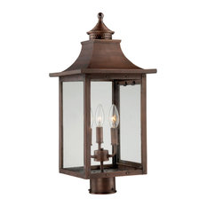 St. Charles Collection Post-Mount 3-Light Outdoor Light, Copper Patina