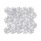 "12""x12"" Carrara White Daisy Flower Pattern Mosaic Tile Polished"