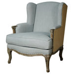 New Pacific Direct Inc. - Marie Wingback Chair, Soft Blue and Burlap - Marie Wing Arm Chair - The vintage charm of the Marie Wing Chair will fit into any transitional or Parisian Chic setting.  The exterior features rugged burlap upholstery, padded arms and a solid birch frame with carved feet but the seat and back are nothing but velvety softness, offering an unexpected elegance.  Fully assembled, available in other color options. New Pacific Direct Furniture was founded in 2000, we offer timeless and on-trend home furniture.  We work hard to provide our customers quality home products that are attractively designed and reasonably priced.  Our transitional to contemporary lifestyle furnishings are suited for your home-fashion. Explore our latest collection and discover a world of style and value!