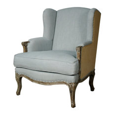 New Pacific Direct Inc.   Marie Wingback Chair, Soft Blue And Burlap    Armchairs