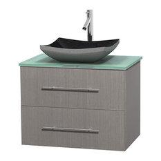 """Centra 30"""" Gray Oak Vanity, Green Glass Top, Altair Black Granite"""