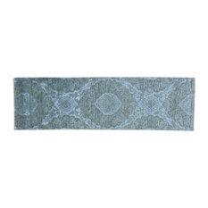 "Tone on Tone Wool and Silk Runner Damask Handmade Oriental Rug, 2'4""x8'0"""