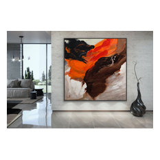 """Abstract Original Black 48x48"""" Wall Art Contemporary MADE TO ORDER"""