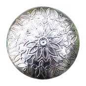 Round Silver Toned Metal Drawer Knob With Flower Pattern