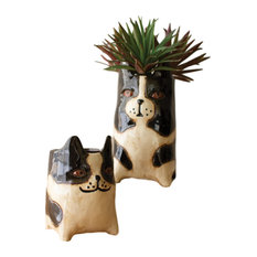 Cute Black White Boston Terrier Ceramic Container 2-Piece Set Animal Planter Pot