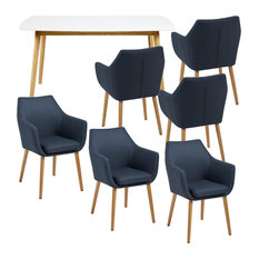 Nagane Extending Table And Nori Fabric Chairs, 6 Chairs