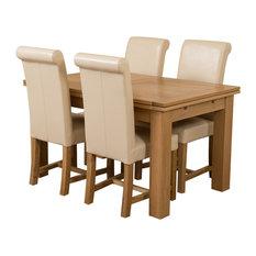 Richmond Oak Extending Table, 4 Washington Chairs, Ivory Leather
