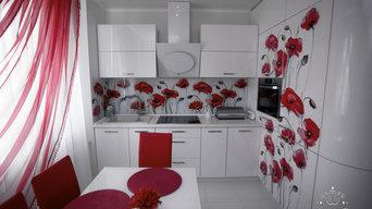 Белоснежная кухня под маковым блюзом