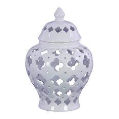 Ceramic Urn Vase W/Cutout Quatrefoil Design Body & Tapered Bottom Large, White