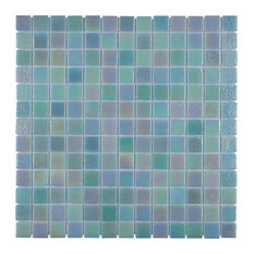 "13""x13"" Guadiana Square Glass Mosaic Tile, Agua Mother of Pearl"