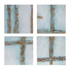 Uttermost Cross Roads Grace Feyock Fir and Canvas 4-Piece Set Wall Art