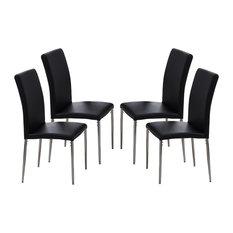Vestavia Dining Parsons Chairs, Black Vinyl & Chrome Metal Legs, Set Of 4