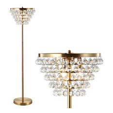 """Jemma Crystal, Metal LED Floor Lamp, 60"""", Brass Gold, Clear"""