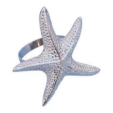 """Napkin Ring 3"""", Chrome, Starfish"""