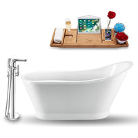 """Streamline 59"""" Freestanding Tub, Faucet and Tray Set, H-120 Faucet"""
