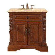 "36"" Traditional Single Sink Bathroom Vanity, Travertine Top, Distressed Finish"