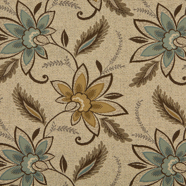 Beige Brown And Teal Floral Vines Indoor Outdoor Upholstery Fabric ...
