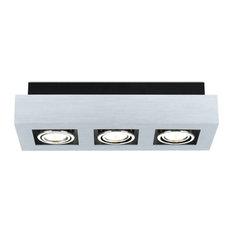 Ceiling Track Light, Brushed Aluminum, Chrome, Black, 3 Light