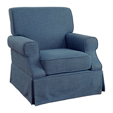 Elma Transitional Linen-Like 360 Swivel Glider Rocker Chair, Blue