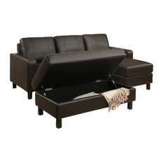 Abbyson Living Jersey Leather Reversible Sectional and Storage Ottoman