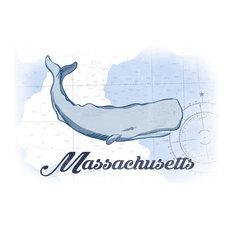 Massachusetts, Whale, Blue, Coastal Icon  Print, 16 x24
